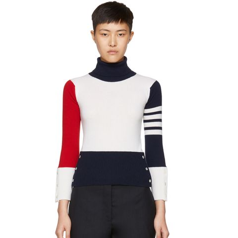 Tricolor Cashmere Funmix Four Bar Turtleneck