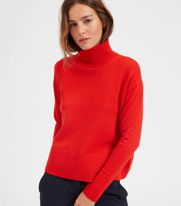 Women's Cashmere Square Turtleneck Sweater by Everlane in Persimmon, Size XL