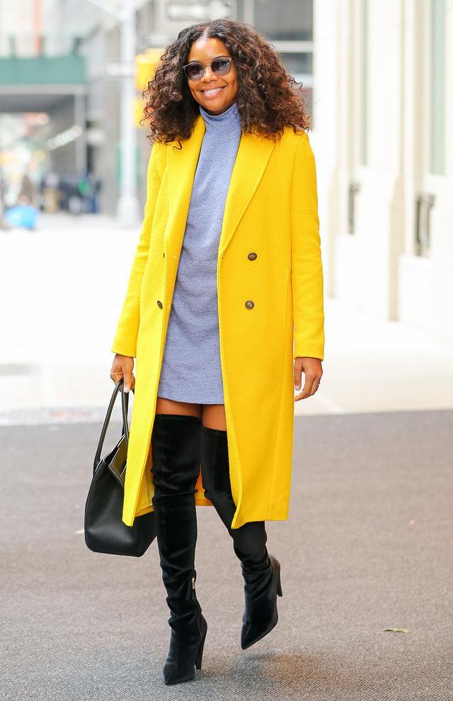 On Gabrielle Union: Wilfred FreeSenko Dress ($75); Mira MikatiForever Or Never Coat($1279); Michael KorsBancroft Leather Satchel ($1190); Stella LunaVelvet Over The...