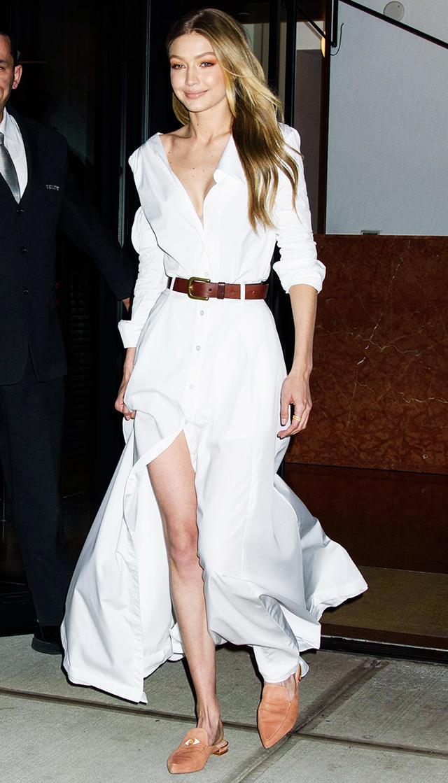 Gigi Hadid White Shirt Dress