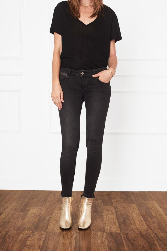 Anine Bing Cropped Jeans with Zippers