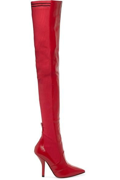 Rockoko Leather And Ribbed-knit Thigh Boots