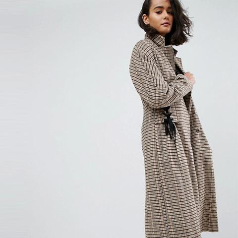 Check Coat With Corset Waist