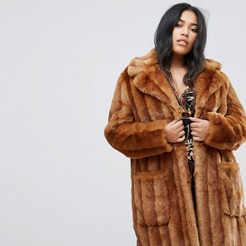 Midi Coat in Pelted Faux Fur
