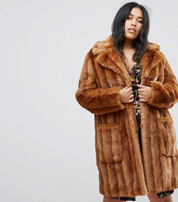 ASOS CURVE Midi Coat in Pelted Faux Fur