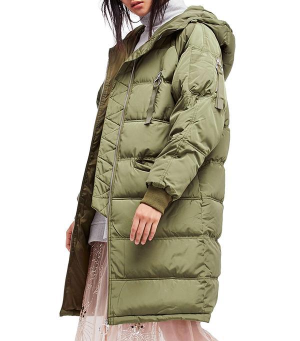 Raglan Long Puffer Coat