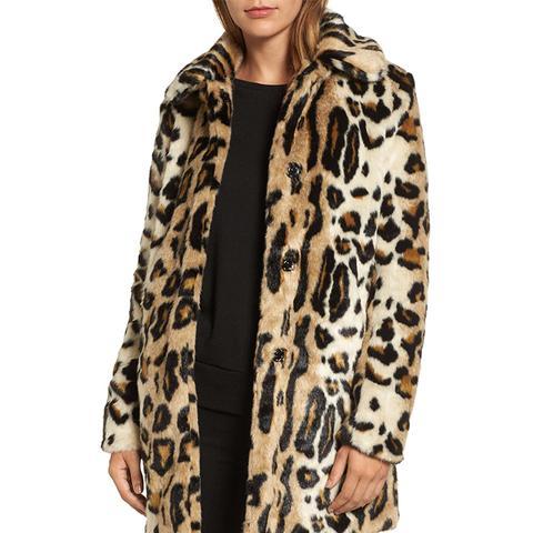 Leopard Spot Faux Fur Coat