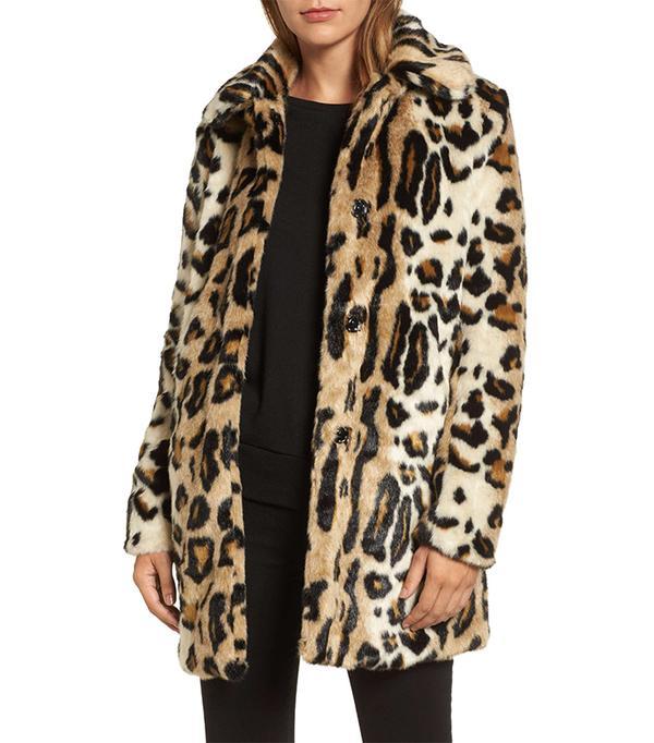 Women's Kensie Leopard Spot Faux Fur Coat