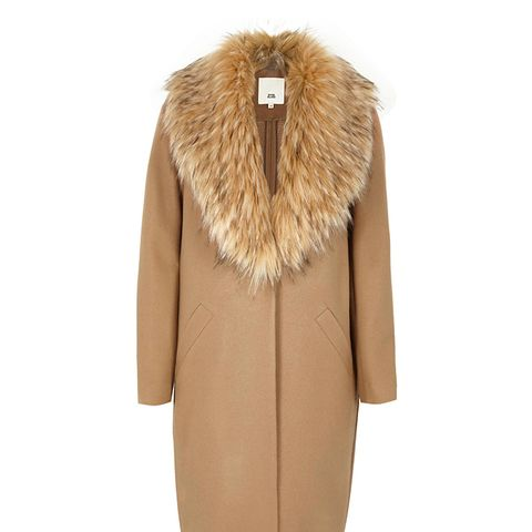 Camel Faux Fur–Collar Coat