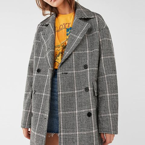 Double-Breasted Plaid Overcoat