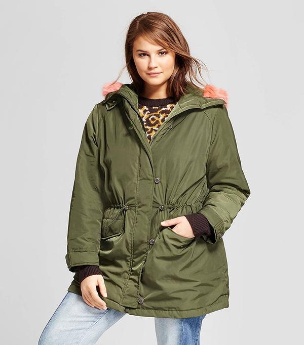 Plus Size Faux Fur Trim Parka