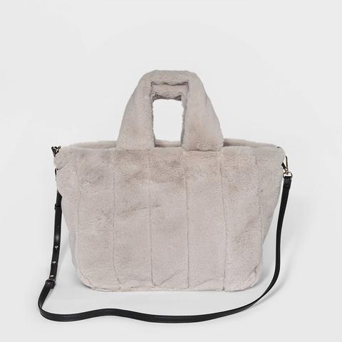 Faux-Fur Top-Handle Handbag