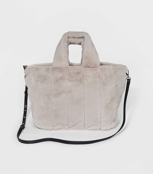Women's Faux Fur Top Handle Handbag - Who What Wear™ Cream