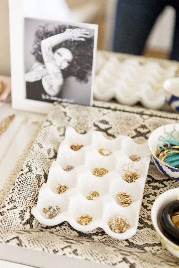 Clean out a plastic egg carton to house all your tiny studs (and never lose another earring backing again!).