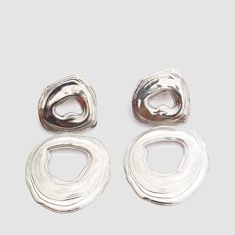 White Bronze Double Whirlpool Earrings