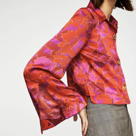 Flowered Printed Crop Shirt