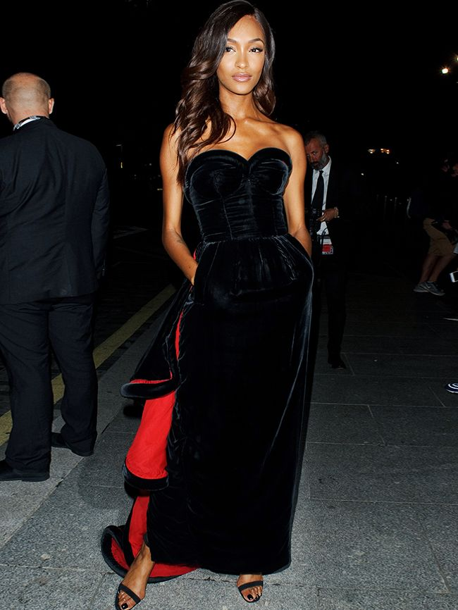 Best celebrity party outfits: Jourdan Dunn in black velvet Jean Paul Gaultier