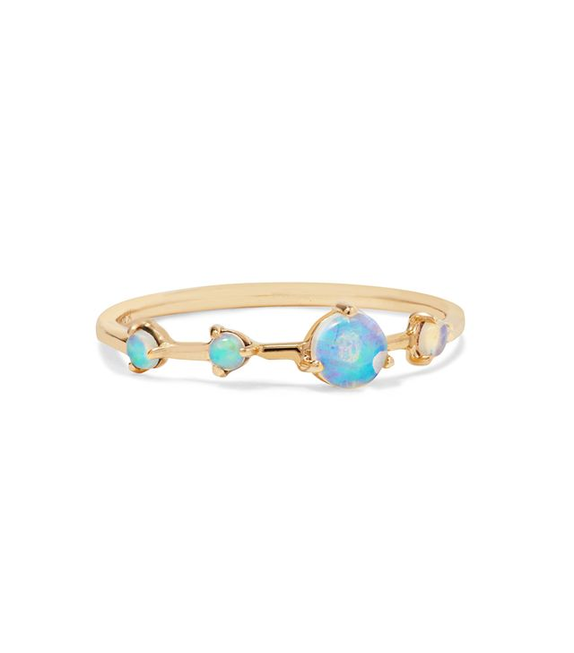 Four Step 14-karat Gold Opal Ring