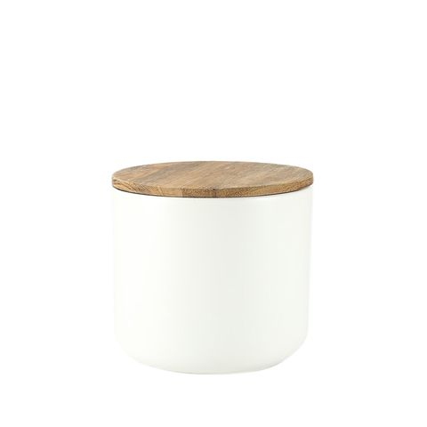 Large Acacia Lid Stoneware Container in White