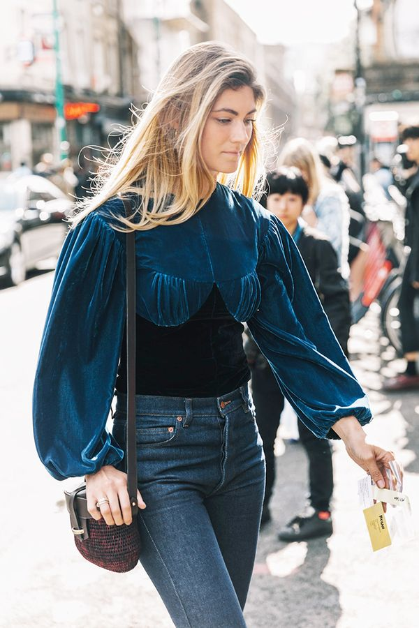 Blue velvet is our favorite kind of velvet. Mix in different textures toplayup the luxe fabric.