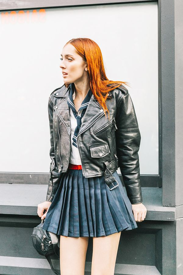 Toughen up aflirty skirt with acropped moto jacket.