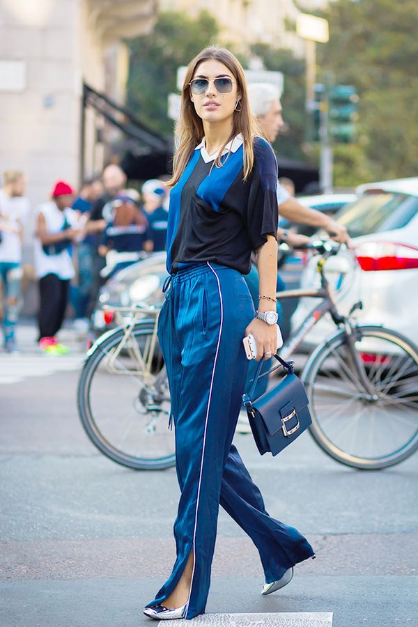 This color combo is a good way to elevate otherwise casual pieces like a pair of trackpants.