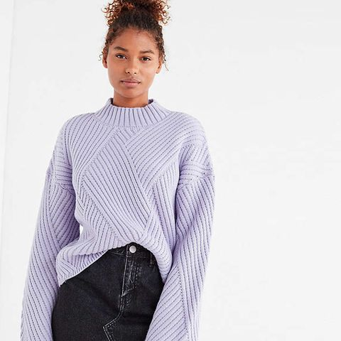 Mock-Neck Zig Zag Ribbed Sweater