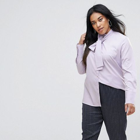 Long Sleeve Shirt With Tie Neck Detail