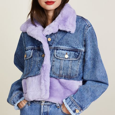 Denim Fur Cropped Jacket