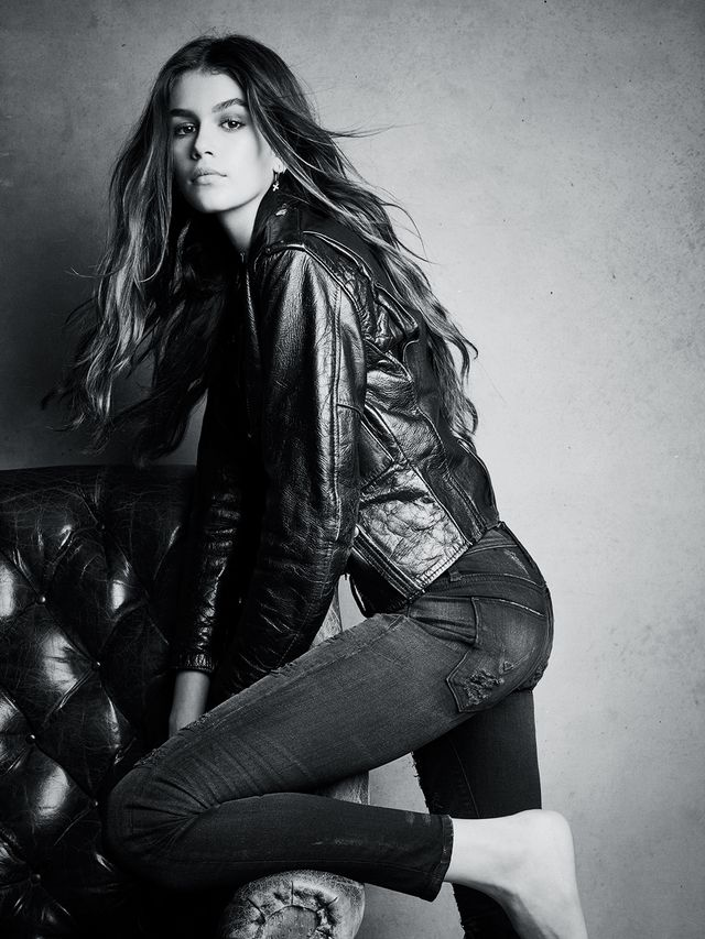 Kaia Gerber leather jacket