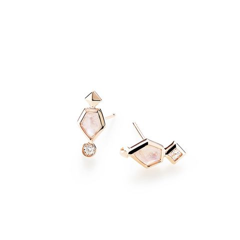 Bonnie Stud Earrings in Rainbow Moonstone and 14K Rose Gold