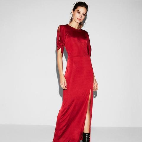 Tie Sleeve High Slit Maxi Dress