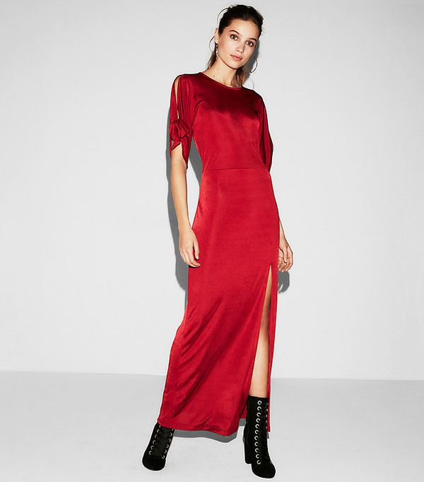 Womens Tie Sleeve High Slit Maxi Dress