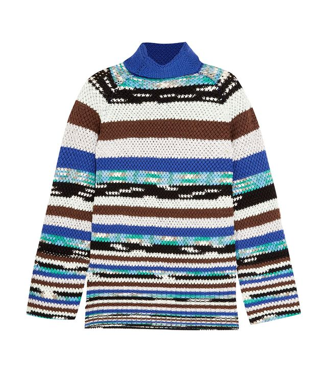 Striped Wool-blend Turtleneck Sweater