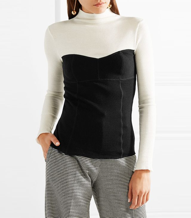 Two-tone Ribbed Wool-blend Turtleneck Sweater