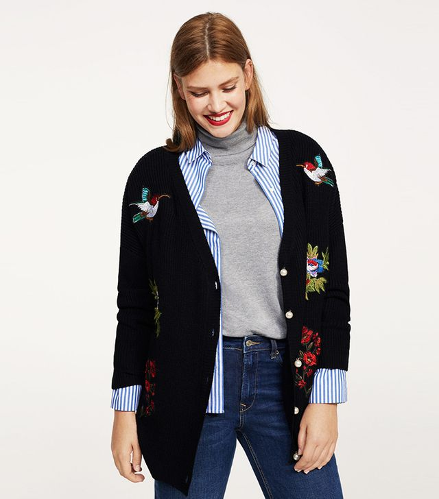 Decorative patches cardigan