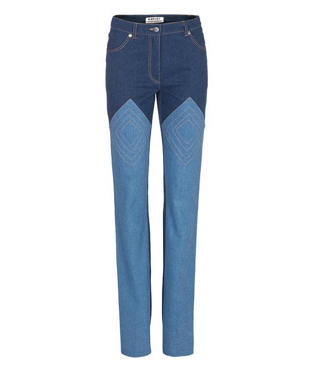 Kreist Appliquéd Two-Tone Jeans