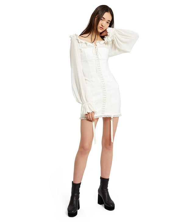 Daisy Long-Sleeve Satin Hook Dress