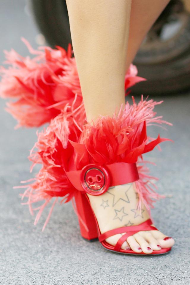 prada feather shoes, street style