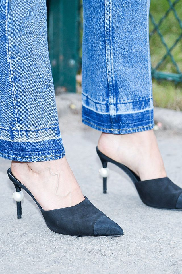 chanel pearl shoes, street style