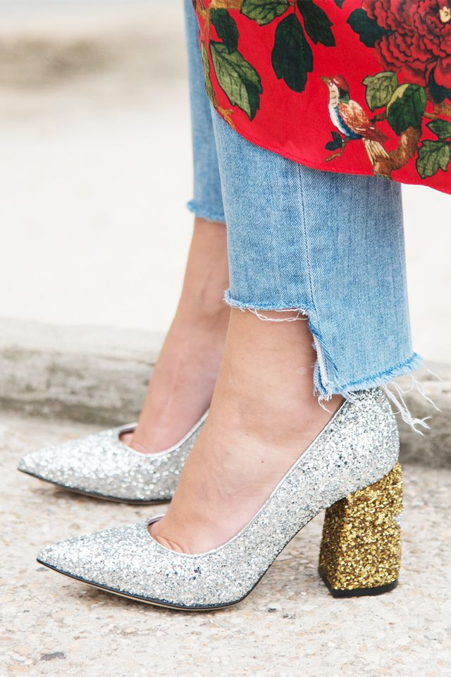 glitter shoes, street style