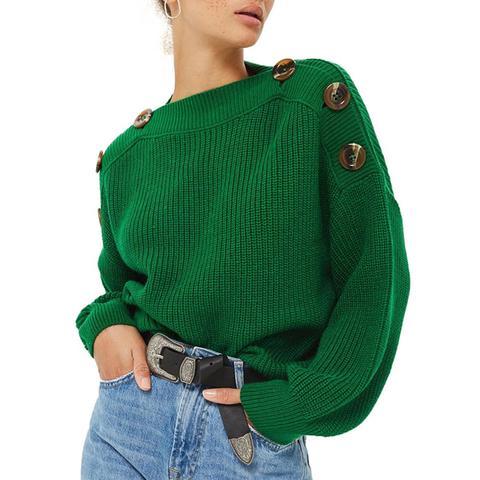 Button-Slash Knit Sweater