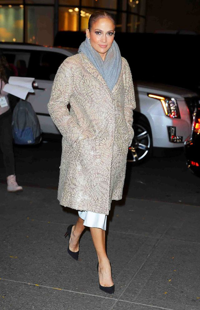 On Jennifer Lopez: Christian Louboutin heels Similar Styles: Brunello Cucinelli Coat ($1692); H&M Cashmere Scarf ($60); Carl Kapp Berlin Dress ($1729); Zara Leather Court Shoes...