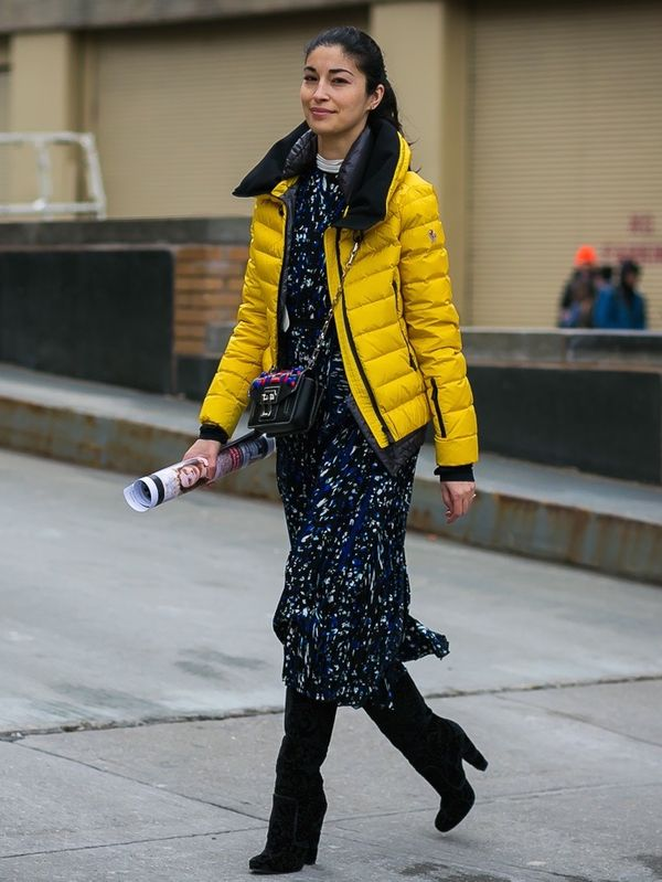 Throw on a puffer coat over your favorite dress for an on-trend winter ensemble.