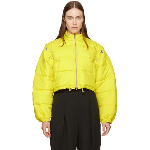 Yellow Cropped Puffer Ski Coat