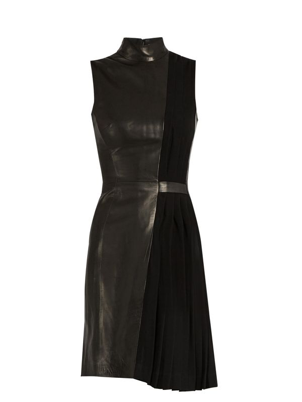 High-neck leather and pleated-cady dress