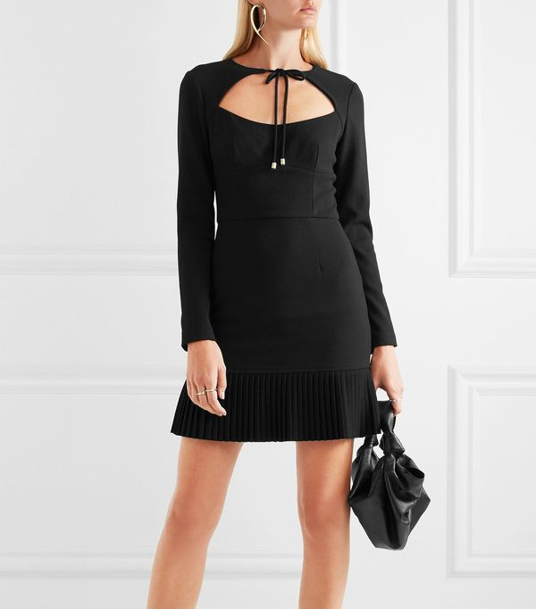 Beltrán Pleated Cutout Crepe Mini Dress