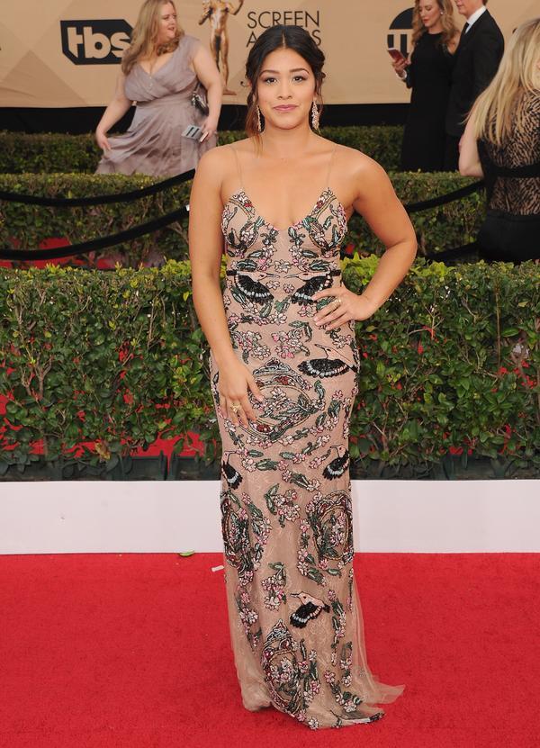 Who:Gina Rodriguez What: The2017 SAG Awards Wear:Patricia Bonaldi