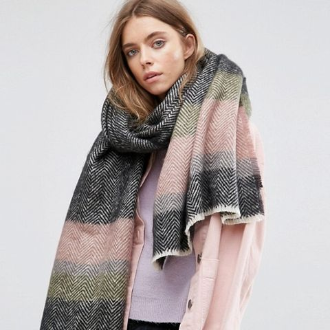 Long Oversized Mono Herringbone Stripe Scarf