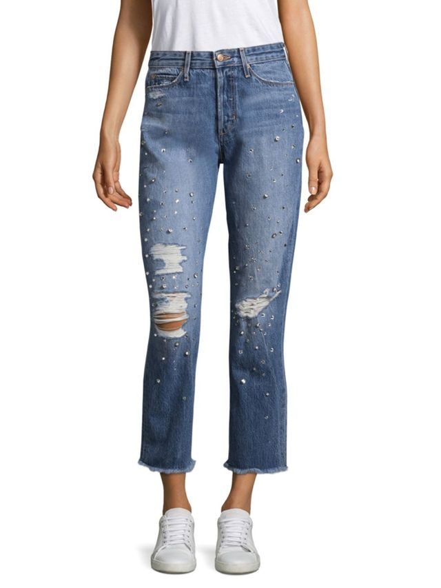 Joe's Smith Distressed Embellished Ankle Jeans
